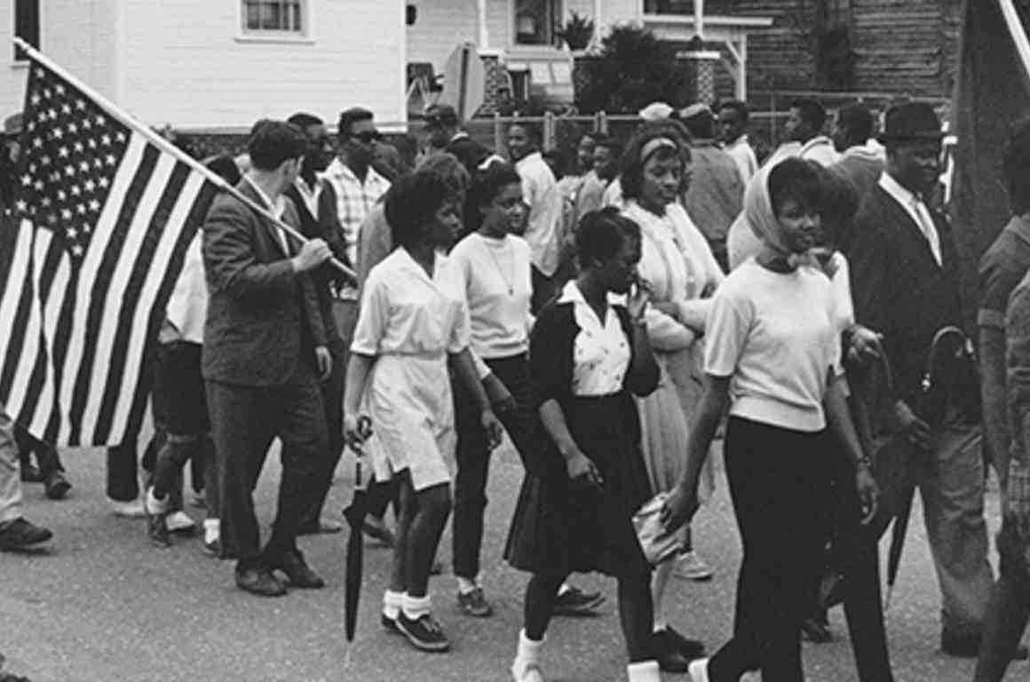Black and white marchers for voting rights in Selma
