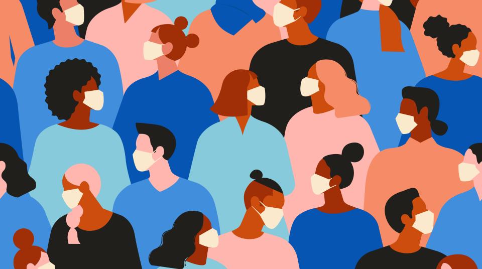 Illustration of diverse people wearing masks