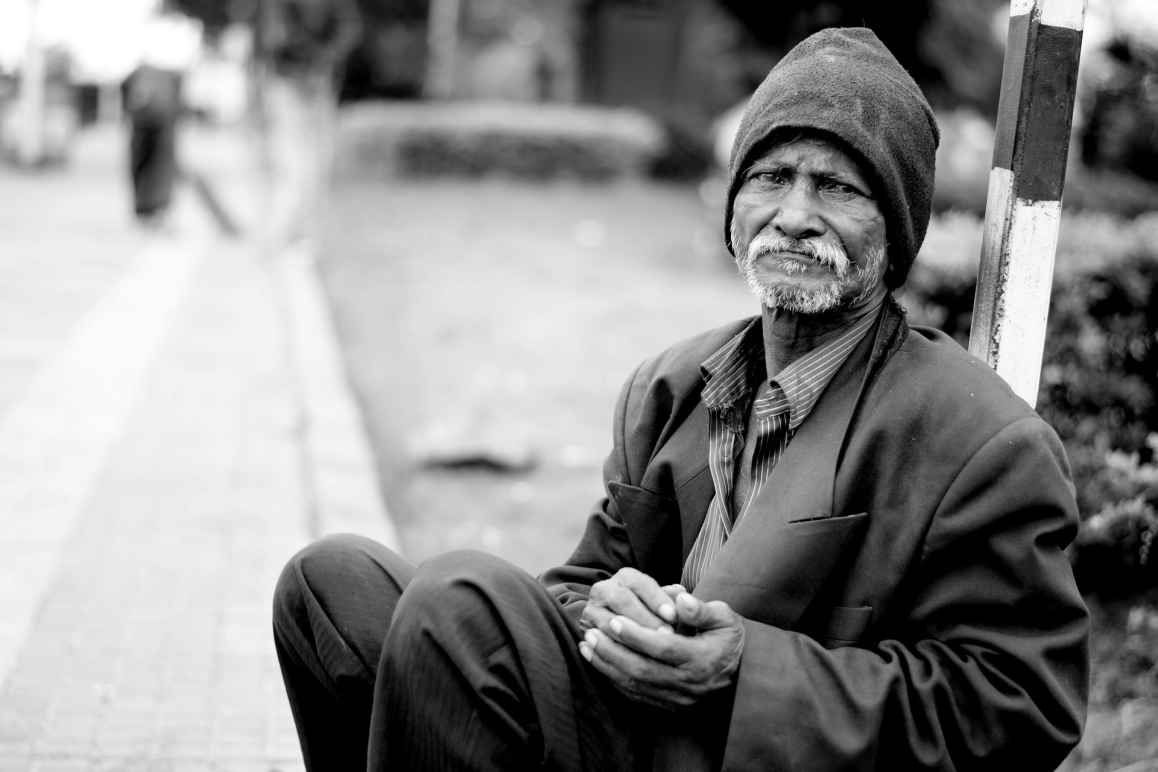 Older black man who is homeless